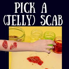 Make a jelly scab - great for a Halloween science experiment - fake scab Halloween Science, Halloween Activities, Science Activities For Kids, Science Experiments Kids, How To Make Jelly, Fake Blood, Natural Curiosities, Alcoholic Drinks, Human Body