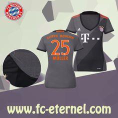 fc-eternel:Maillot Bayern Munich Femme (MULLER 25) Exterieur 2016/2017 Thai Edition Maillot Bayern Munich, Lewandowski, Football, Wetsuit, Sports, Baby Born, Woman, Soccer, Scuba Wetsuit