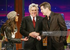 Actor Pierce Brosnan (right) and singer Janet Jackson (left) appear on 'The Tonight Show with Jay Leno' on April 29, 2004 at the NBC Studios, in Burbank, California.