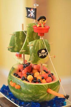 Pirate ship fruit basket for little mans birthday