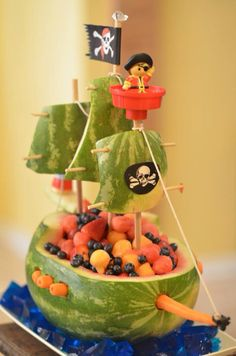 Pirate ship fruit basket for little mans birthday