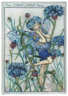 Sheer Inspiration: A. Embroidered Designs » A. Flower Fairies » The Cornflower Fairy