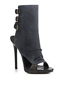 Giuseppe Zanotti - Suede & Leather Buckled Peep-Toe Booties