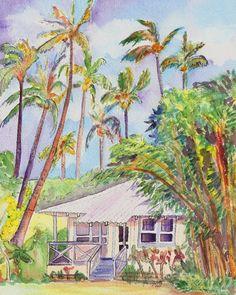 Tropical Waimea Cottage 8x10 print from Kauai Hawaii. $22.00, via Etsy.