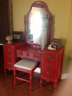 Vintage Dressing Table with Bench by Chiccolors on Etsy, $360.00