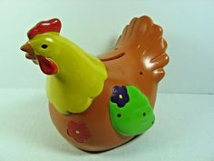"""Collectible Colorful Ceramic Chicken / Rooster Coin Bank - 5 1/4"""" Tall x 6"""" Long"""