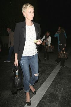 Charlize Theron wearing Joe's Roxanne Tux Tee and Vintage Reserve Straight Leg in Emmy   Los Angeles, CA - April 8, 2013