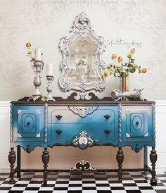 Stunning Jacobean Sideboard Buffet blended in Antebellum Blue, Dusty Blue, and French Linen by Legs and trim are accentuated in Coffee Bean while Filigree is highlighted in Drop Cloth Blue Painted Furniture, Paint Furniture, Furniture Projects, Furniture Makeover, Home Furniture, Furniture Design, Modern Furniture, Outdoor Furniture, Shabby Chic Furniture