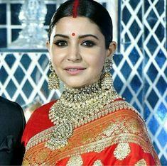 Anushka Sharma reception  jewellery necklace kundan polki jadau