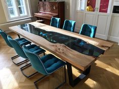 What is a river table? and How to make amazing river table with stylish epoxy river table designs for your interior, what advantage and disadvantage for the epoxy table, how to place it in the interior Dining Table Design, Dining Room Table, Wood Table, Adirondack Furniture, Wood Furniture, Esstisch Design, Resin Table, Home And Living, Modern Design