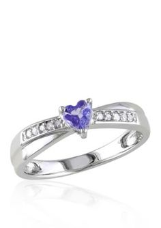 Belk  Co.  Sterling Silver Tanzanite and Diamond Heart Ring