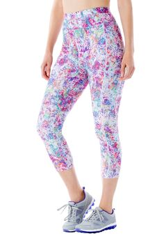 "Whatever is on your fitness agenda, these plus size capris will give you freedom to move. Versatile styling makes them great for any activity beyond the gym. Super stretch offers total freedom of movement  slim fit pants sit at waist with tapered leg firm, high-impact support with ultimate stretch 21"" inseam falls to mid calves full, smooth 2-piece stay-in place elastic waistband in contrast colors for comfort tagless comfort side panels non-chafe performance seaming flattering seams create…"