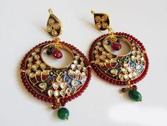 Kundan Chandbali  Earrings,Peacock jewellery,red Jhumkas,Gold Meenakari Jewelry Ethnic Indian Chandelier earrings by Taneesi by taneesijewelry on Etsy