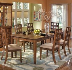 Home Gallery Furniture for Transitional, 7-pc Clifton Park Rectangular Extension Table Dining Set