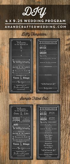 Chalkboard DIY Wedding Program Template - Check out this printable wedding program that you can customize yourself and print as many copies as you need!