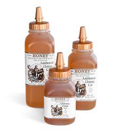Ambrosia Honey (Colorado) - wildflower honey, raw unpasteurized and delicious - parent company is Madhava.