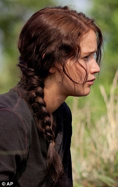 """I absolutely love Jennifer Lawrence's hair in the movie """"The Hunger Games"""" <3"""