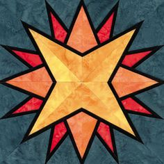 Stained Glass Explorer's Compass Quilt Block Pattern