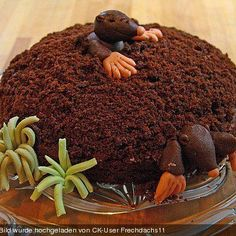 Cake with mole :) Maulwurfkuchen. Cake Recipes, Dessert Recipes, Desserts, Bon Dessert, Cake & Co, Crazy Cakes, Food Decoration, Food Humor, Sweet Cakes