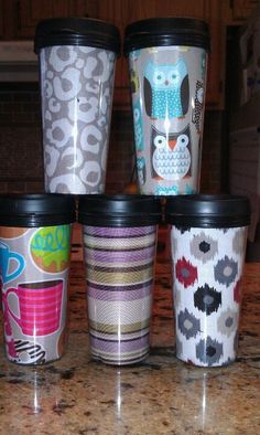 Thirty-One Swatches | Thirty-One themed travel mugs using fabric swatches!