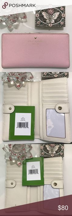 """♠️️Kate Spade Mikas Pond Posypink Wallet ♠️️ Beautiful Kate Spade wallet. I Measures 3.5"""" H x 6.6"""" W x 0.5"""" D. Was purchase earlier this year at Macys as a matching wallet to a Pink Kate Spade handbag I have, but ended up using it just during a trip to New York. Since April the wallet has been sitting in my closet. No stains, marks or rips. I will post more detail pics in a separate post.  Offers are welcome but please not low balling. I don't trade, thank you. kate spade Bags Wallets"""