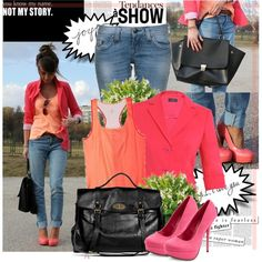 ooooooooooooooh  color. I LOVE!!  How To: Coral + Pink, created by bklana on Polyvore