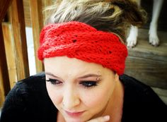 Cable Knit Winter Headband in Red