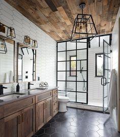 Rustic Master Bathroom, Modern Farmhouse Bathroom, Small Bathroom, White Bathrooms, Farm House Bathroom, Luxurious Bathrooms, Master Bathrooms, Wood Bathroom, Basement Bathroom Ideas
