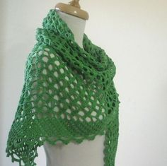 I think I can figure out how to make this or a very similar knock off...love that edging!!!       New Green Crochet Stole Shawl Lace Scarf Wrap by filofashion, $78.00