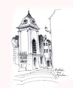 Stockholm - ink drawing by Mugur Kreiss