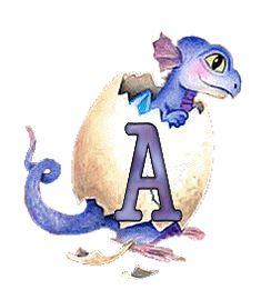 Oh my Alfabetos!: Alfabeto de dragoncito rompiendo el cascarón.