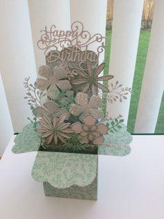 Pop up box card using Robert Addams die & template, Sue Wilson flower & sentiment dies & Tattered Lace foliage dies.