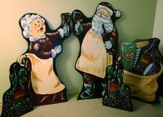 Santa and Mrs Claus Wine theme lawn decorations