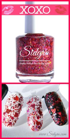Glitter Nail Polish | Sidgra | XOXO | Custom Blended-Full size bottle by Sidgra 5-Free, Vegan, Cruelty Free $9.99 www.etsy.com/shop/Sidgra #valentinesnailpolish #glitternailpolish #redglitternailpolish #pinkglitternailpolish