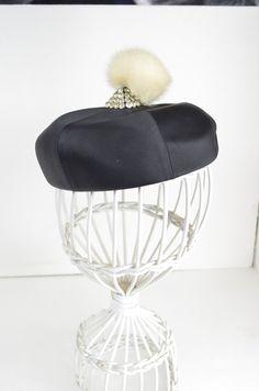 1950s satin hat Vintage 50s hat rhinestones mink black topper Jan Leslie designer hat on Etsy, $58.00