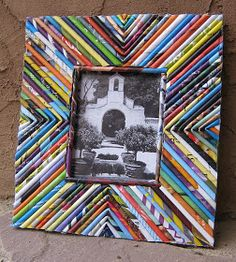 Magazine coils picture frame by recycle girl.