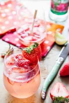 Strawberry Rose Gin Fizz