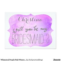 Whimsical Purple Pink Watercolor Bridesmaid