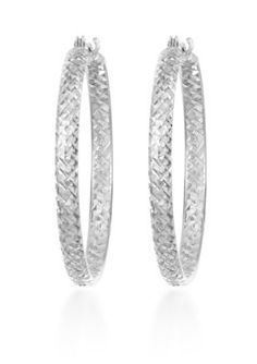 Belk  Co.  10k White Gold Hoop Earrings