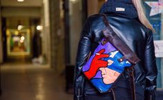 Urban Roll-Top leather backpack with Captain America (Marvel) Woman backpack, men backpack, comics backpack by TwoHandsRussia on Etsy