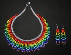 Rainbow Necklace with Earrings Traditional от BiuluArtisanBoutique Seed Bead Necklace, Seed Bead Jewelry, Beaded Jewelry, Beaded Necklace, Beaded Rings, Beaded Bracelets, Beading Techniques, Native American Beading, Beading Projects