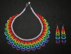 Arco iris collar con pendientes abalorios por BiuluArtisanBoutique