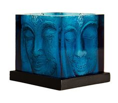 Square Buddha Head Candle Holder with Buddha Heads on all Four Sides Blue Resin on Wooden Plate Indent for Tea Lights 4 in high 3 in square Creates Beautiful Shimmering Light -- To view further for this item, visit the image link.Note:It is affiliate link to Amazon.