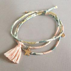 Lien Liberty Etoile Plaqué Or Bracelets Liberty, Fabric Bracelets, Fabric Jewelry, Jewelry Bracelets, Jewelery, Kids Jewelry, Jewelry Crafts, Jewelry Making, Handmade Accessories