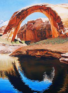 Rainbow Bridge, 40x30, Oil by Ron Larson Oil ~ 40 x 30, Rainbow Bridge National Monument, Lake Powell