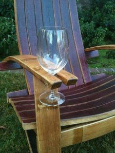Adirondack Chair with Wine Holder. this isn't just any old Adirondack chair its obviously made from a wine barrel Outdoor Spaces, Outdoor Chairs, Outdoor Living, Outdoor Decor, Outdoor Furniture, Lawn Chairs, Furniture Ideas, Backyard Chairs, Lawn Furniture