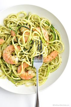 Shrimp and Pesto Zoodles Recipe, yes Zoodles with a Z (made with zucchini).
