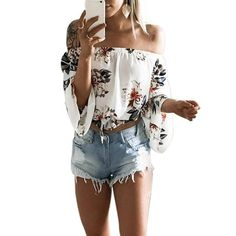 Funoc White Off Shoulder Tops Floral Print Women Blouse Full Sleeve New Summer Casual Slash Neck Flare Sleeve Blusas Femme Mujer Crop Top Et Short, Chemises Sexy, Blouse Ample, Off Shoulder T Shirt, Shoulder Tops, Cold Shoulder, Slash, Chiffon Blouses, Shirt Blouses