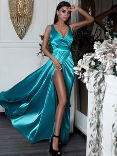 SheerGirl prom dresses Sexy Split Long Prom Dresses Turquoise V-Neck Formal Evening Dress with Slit Split Prom Dresses, A Line Prom Dresses, Cheap Prom Dresses, Trendy Dresses, Satin Dresses, Bridesmaid Dresses, Dress Prom, Mermaid Prom Dresses, Wedding Dresses