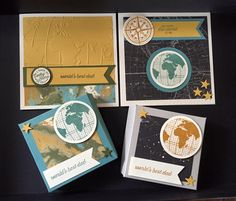 Handmade treat boxes for Fathers day and matching cards. Stampin' Up! going global, going places stamps and dsp stack.  Caramel&Cream